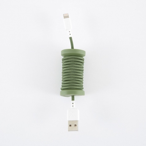 Lightning MFI Cable and Spool For Apple Device - Olive