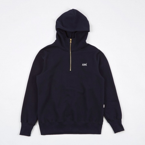 Quarter Zip Hooded Sweatshirt - Midnight Navy