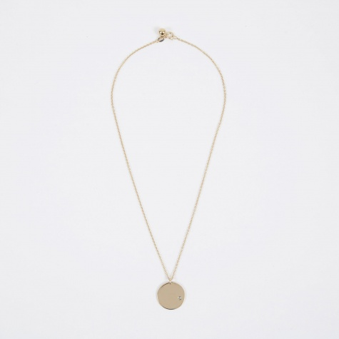 March Birthstone Necklace - 14K Gold Plated