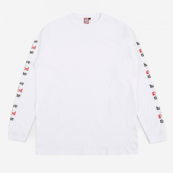 Have A Good Time x Goodhood Arm Frame Logo L/S T-Shirt - White (Image 1)