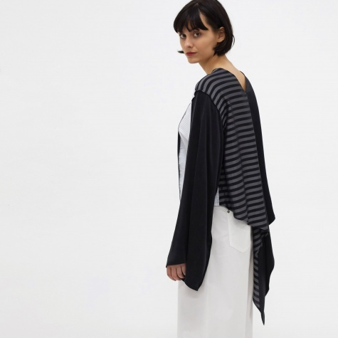 MM6 Multi Panel Wrap Top - White/Black/Stripe