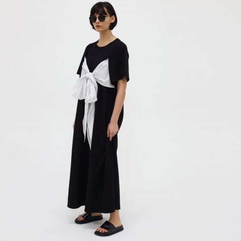 MM6 Wrap Tie Long Dress - Black/Off-White Stripes
