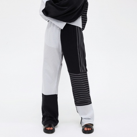 MM6 Loose Patch Work Trouser - White Stripe/Black Stripe