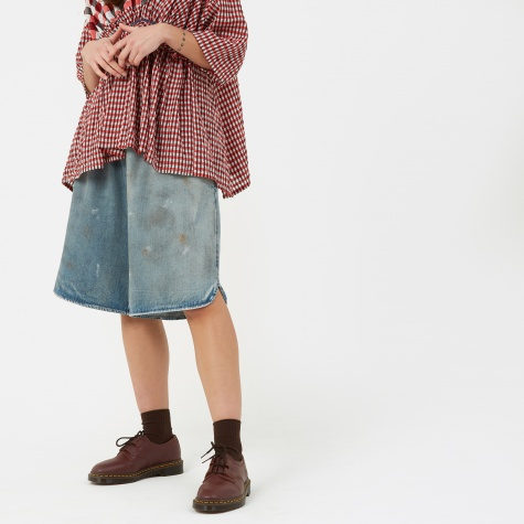 MM6 Dirty Wash Long Shorts - Indigo Stone Wash