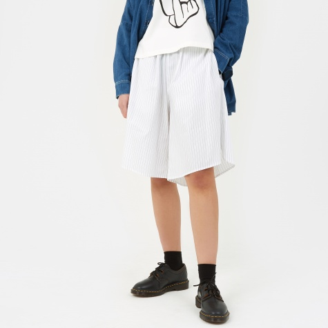 MM6 Cotton Stripe Long Shorts - White/Black