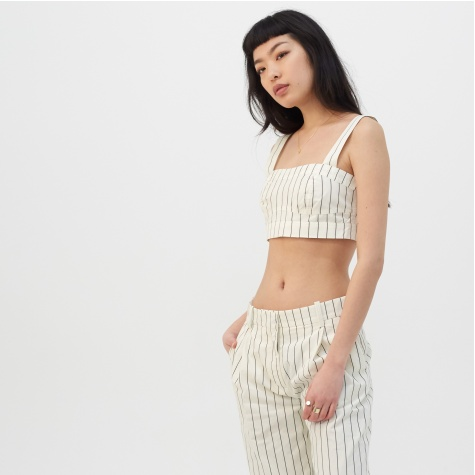 Carola Top - Off White Pinstripe