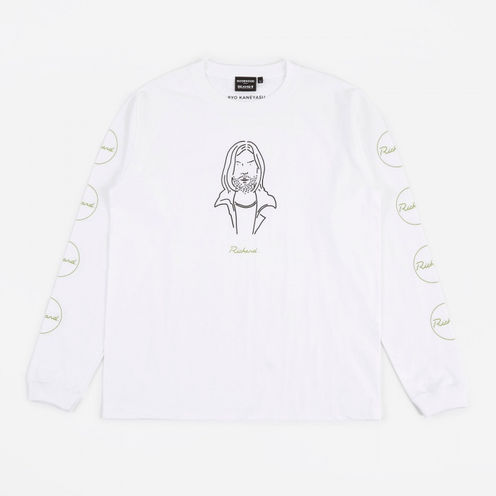Goodhood x BEAMS T x Ryo Kaneyasu Richard LS T-Shirt - White (Image 1)