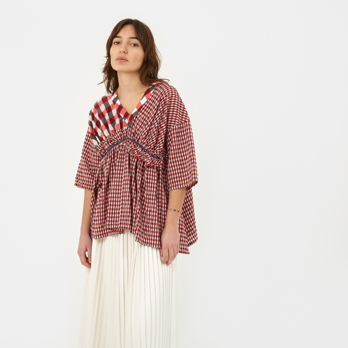 Zucca Checkered Short Sleeve Top - Red (Image 1)