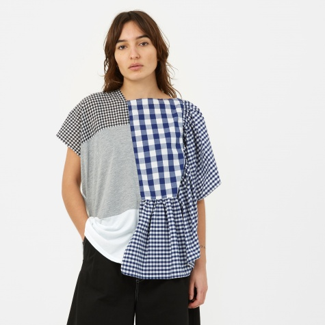 Patchwork Checkered Short Sleeve Top - Blue/White/Grey