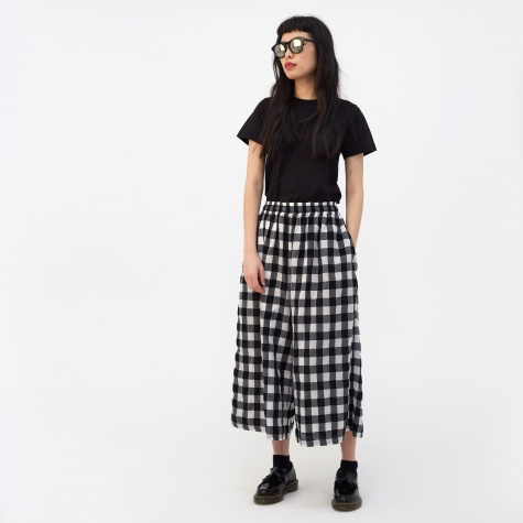 Checkered Loose Leg Pant - Black