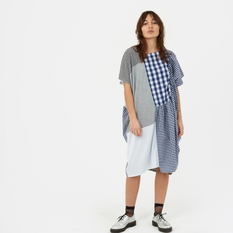 Patchwork Checkered S/S Dress - Blue/White/Grey