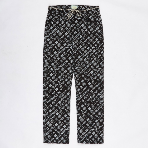 Lilly Monogram Jeans - Black/White