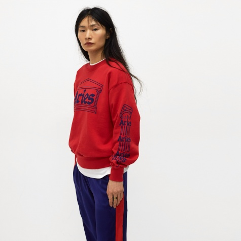 Temple Print Sweatshirt - Red/Navy