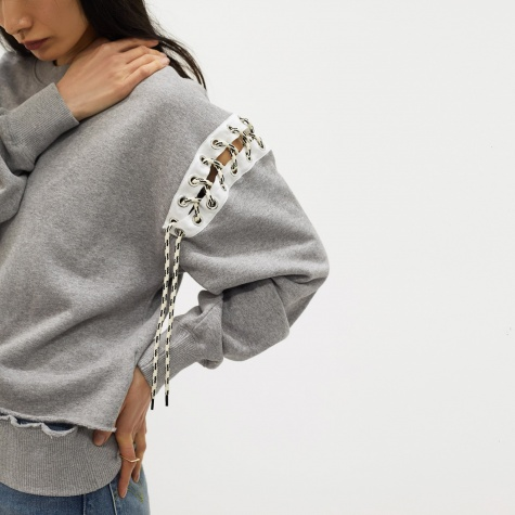 Deconstructed Eyelet Sweat - Grey Marle