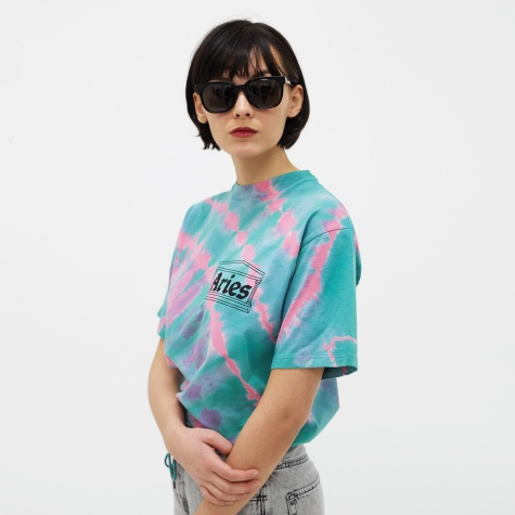 Temple Chest Logo Tie Dye Tee - Pink/Aqua