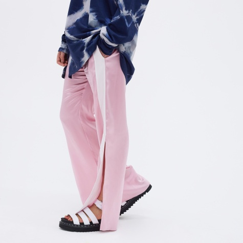 Open Hem Silk Track Pants - Pink/White