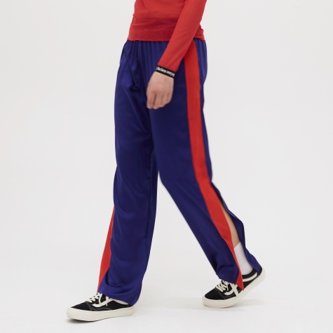 Open Hem Silk Track Pants - Navy/Red
