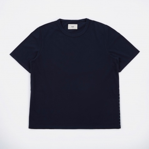 Panel Stitch T-Shirt - Washed Navy/Ecru