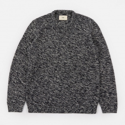Irregular Stripe Crewneck Sweatshirt - Navy Ecru Mix