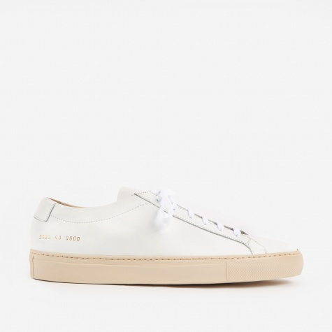 Achilles Low W/Coloured Sole - White/Nude