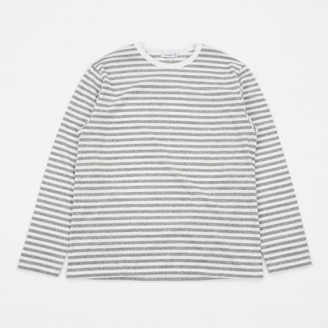 COOLMAX St Jersey Long Sleeve T-Shirt - Heather Grey/Wh
