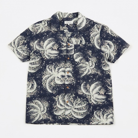 Palm Print Malick Shirt - Navy