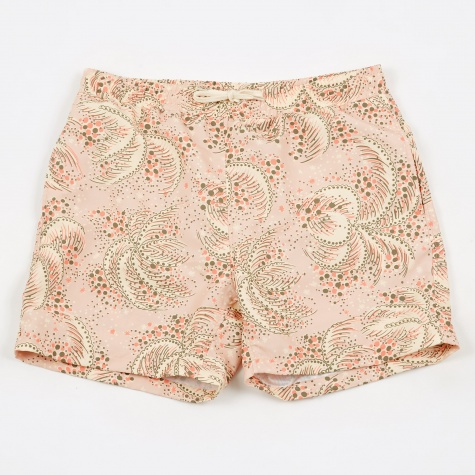 Palm Print Shaka Swim Shorts - Pink