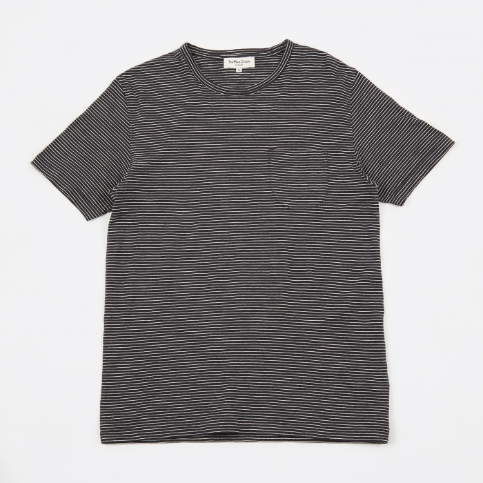 YMC Narrow Stripe Pugsley Tee - Navy (Image 1)