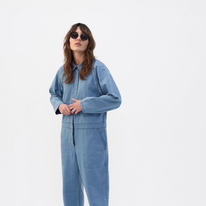 YMC Garlands Jumpsuit - Indigo Bleach (Image 1)
