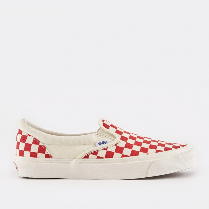 Vans Vault OG Slip-On LX - Checkerboard White/Red (Image 1)