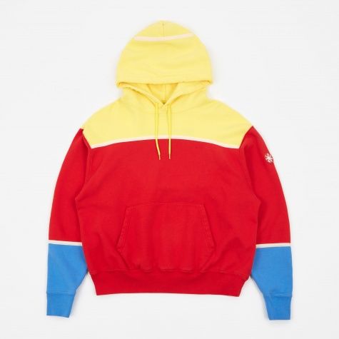 C.E Cav Empt Colour Panel Heavy Hooded Sweatshirt - Red