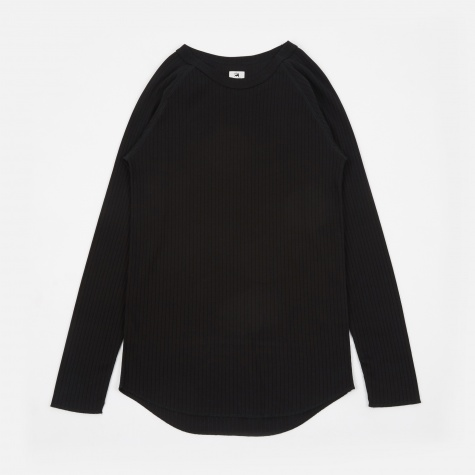Rib Stitch L/S T-Shirt - Black