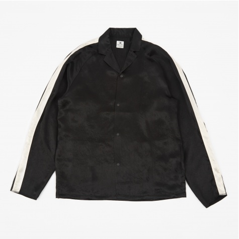Notched Collar Satin Shirt - Black