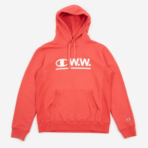 x Wood Wood Reverse Weave Hooded Sweatshirt - Red
