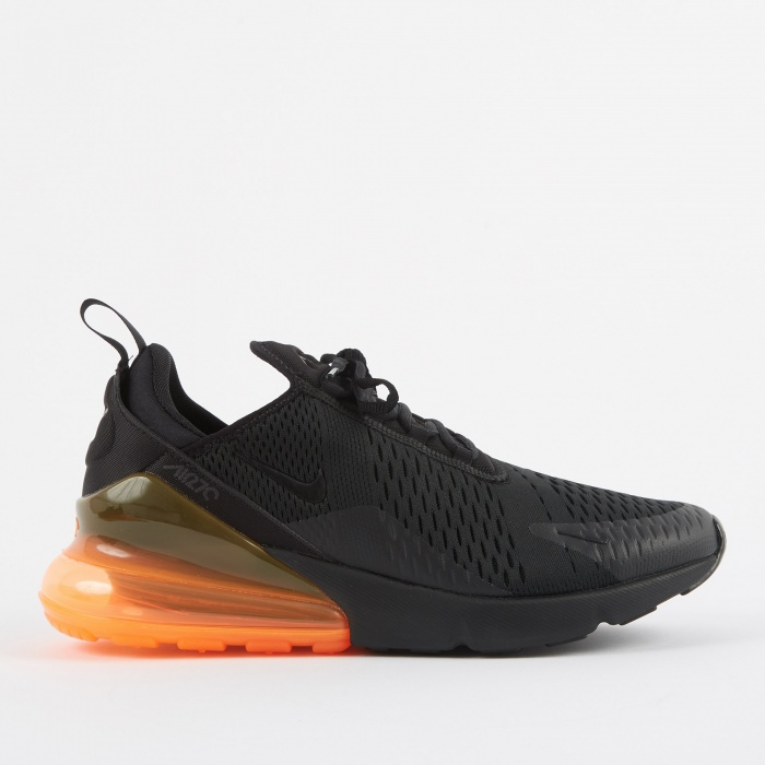 Nike Air Max 270 Shoe - Black/Black-Total Orange (Image 1)