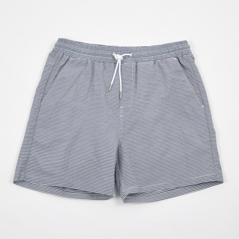 Hauge Swim Shorts - Dark Navy Fine Stripe