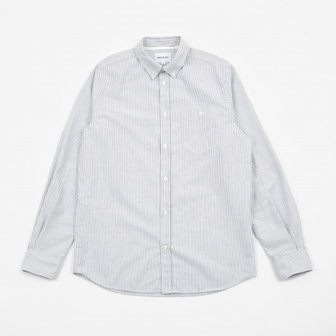 Anton Oxford Shirt - Dark Navy Fine Stripe