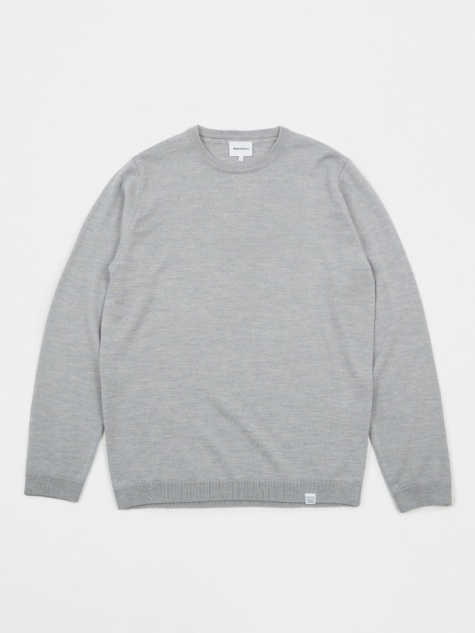 72a6b8511a8 Sigfred Merino Wool Knit - Light Grey Melange