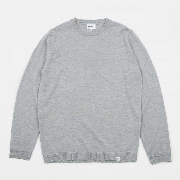 Norse Projects Sigfred Merino Wool Knit - Light Grey Melange (Image 1)