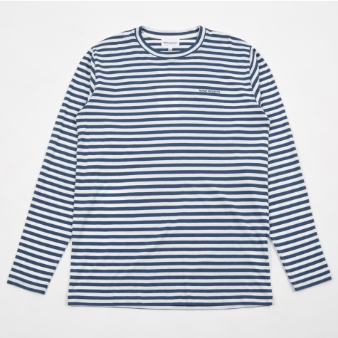 James Logo Stripe L/S T-Shirt - Anodized Blue