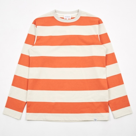 Johannes Wide Stripe L/S T-Shirt - Burned Red
