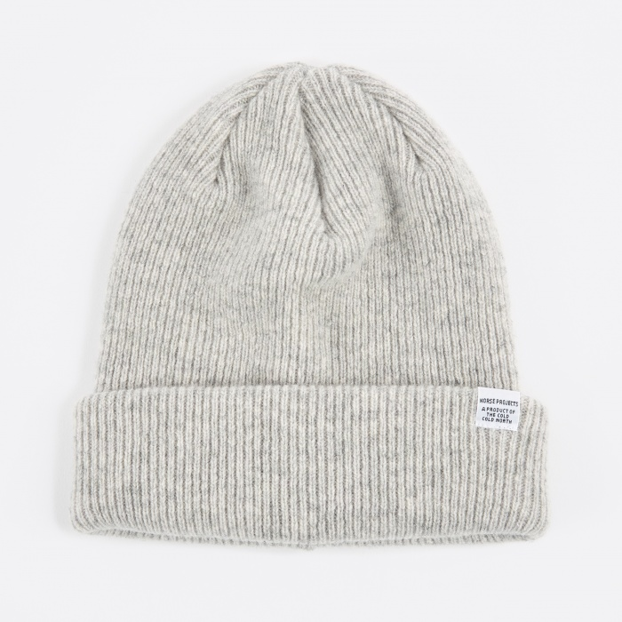Norse Projects Norse Beanie Hat - Light Grey Melange (Image 1)