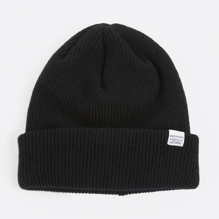 Norse Projects Norse Beanie Hat - Black (Image 1)