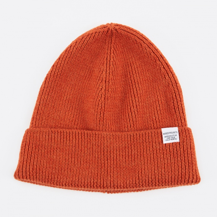 Norse Projects Norse Rib Beanie Hat - Burned Red (Image 1)