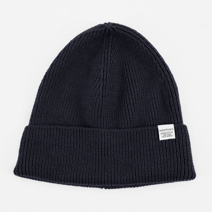 Norse Projects Norse Rib Beanie Hat - Dark Navy (Image 1)