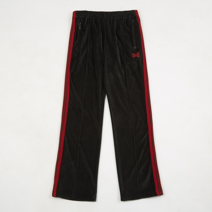 Needles Narrow Velour Track Pant - Charcoal (Image 1)