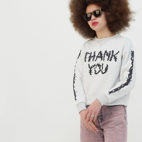 Thank You Crew Neck Sweatshirt - Grey