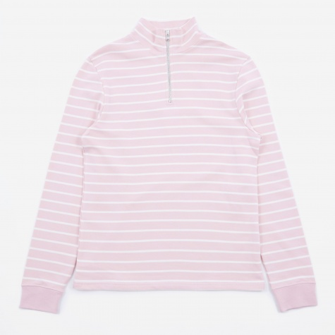 Tres Bien Half Zip Sweater - Dusty Pink Stripe