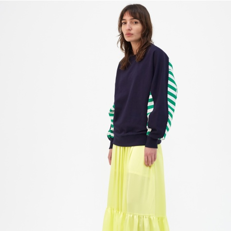 Block Stripe Pointed Sweatshirt - Navy/White/Jolly Green