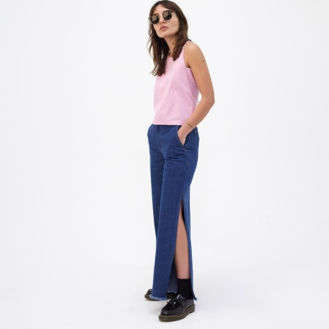 Long-Slit Denim Pants - Blue